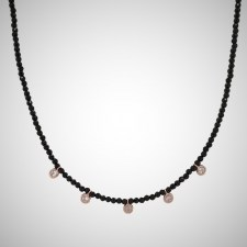 Necklace-silver-925-pink-gold-plated-with-onyx-and-white-zirconia